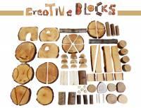 Baumscheiben-Bausteine - Creative Blocks, 70-teilig