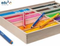 edu3 Prime Jumbo dreiflächig | Holzbox mit 144 Buntstiften
