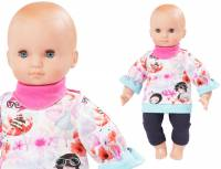Babypuppe 40 cm - Blumenshirt Pink