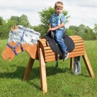 Holzpferd lasiert (Sitzhöhe 80 cm)