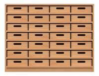 Materialschrank mit 28 Materialkästen