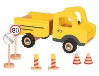Baufahrzeuge mit Gummibereifung | Baustellenfahrzeug mit Verkehrsschildern