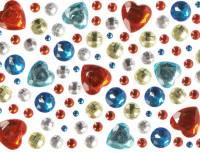 Glitzersteine Aufkleber - Herzen und Edelsteine | 105er Set
